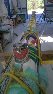 The mast is padded and wrapped to get it ready for the truck.