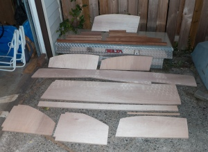This is all of the parts for the port settee. They have had their edges rounded over with the router. Now they need a sanding and then they can be coated withe epoxy. Then we can start the assembly process.