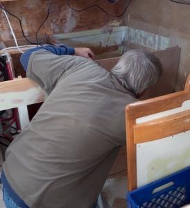 Bill dry fitting the icebox bulkhead.